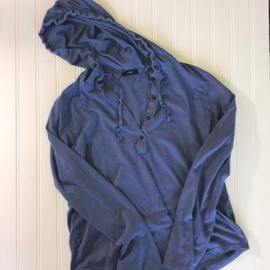J. Crew Blue hooded long sleeve T-shirt  size L